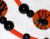 Black and Orange Spider Necklace - FREE SHIPPING - 060