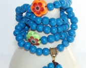 108 Bead Mala Blue with Flower Counters - FREE SHIPPING - Item 043