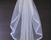 Wedding Veil White Full Single Layer Fingertip With Organza Ribbon Trim