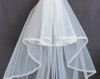 Ivory Two Layer Full Flowing Cascade Style Ribbon Trimmed Veil