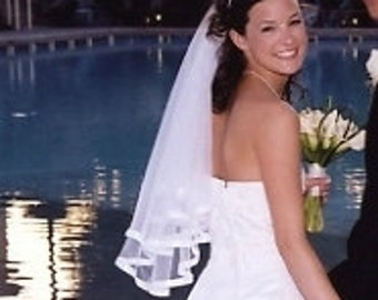 White Bridal Two Layer Veil -- Slightly Gathered with Satin Edged Ribbon Trim
