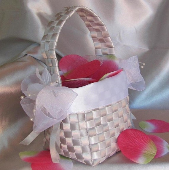 RESERVED FOR MICHELLE -- Flower Girl Basket Hand Woven Pewter and White Satin