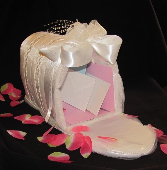 Wedding Gift Card Box -- White Satin Mailbox