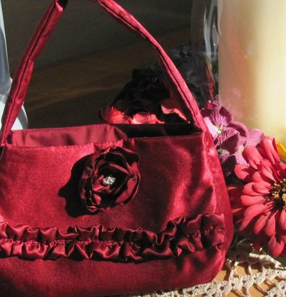 Toddler Dressy Purse -- Dark Red Satin with Blossom and Ruffles