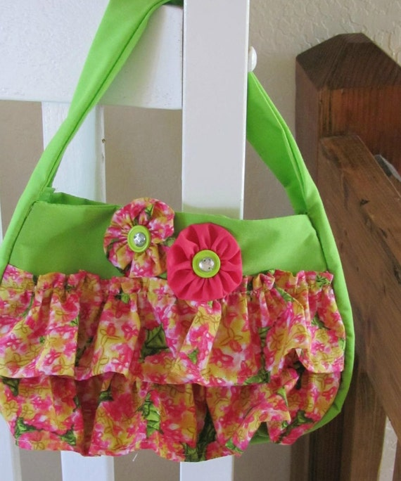 Toddler Purse Sugar and Spice Ruffly Lime Green and Pink Print