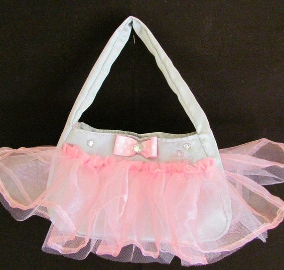 Toddler Size Pink and Gray Tutu Purse