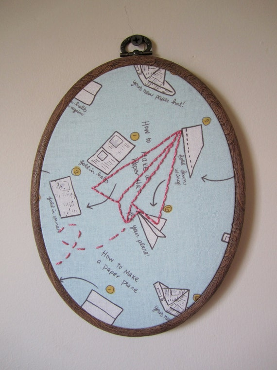 Paper Airplane Wall Embroidery