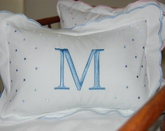 Monogrammed Blue Scalloped Baby Pillow