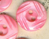 5 Vintage Pink Carved Mother of Pearl Shell Buttons 5/8 Inch 16mm MOP Sewing Buttons