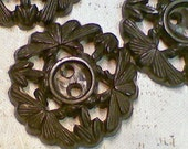 4 Vintage Pierced Openwork Black Plastic Flower Buttons 3/4 Inch 19mm Floral Sewing Buttons