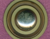 Big Vintage Celluloid Coat Button Brown Ivory Silver 1-5/16 inch 34mm Sewing Button