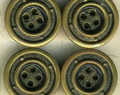 4 Vintage Antique Gold Metal Sewing Buttons 7/8 inch 23mm Porthole