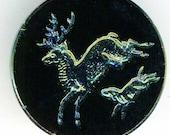 Antique Black Glass Button Carnival Intaglio Stag Hound 7/8 inch 23mm