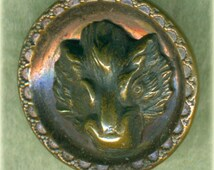 Vintage Boar Head Brass Picture Button Animals 3/4 inch 18mm Boars Head Animal Pictorial Metal Sewing Button