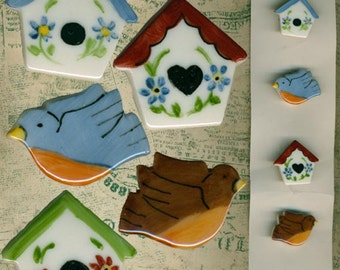 2 Birds & 3 Birdhouses Hand Made Handpainted Porcelain Button Covers by Cocanower