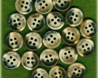 20 Vintage Marbleized Brown Tan Plastic Sewing Buttons 9/16 inch 14mm