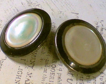 2 Shabby Vintage Coat Buttons 1-1/8 Inch 29mm Mother of Pearl Shell MOP set in Metal Sewing Buttons