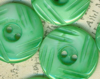 5 Vintage Green Carved Mother of Pearl Shell Buttons 3/4 Inch 19mm MOP Sewing Buttons