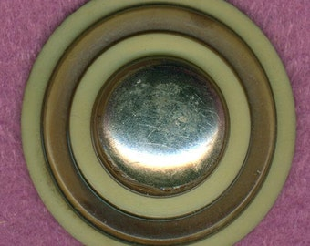 Awesome Big Vintage Celluloid Coat Button ~ Brown Cream & Silver ~ 1-5/16 inch 34mm ~ Single Focal Sewing Button
