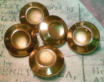 5 Vintage Gold Metal Buttons Mod Scoop Design 5/8 Inch 16mm Sewing Buttons