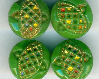 4 Vintage Diminutive Green Glass Sewing Buttons 3/8 inch 9mm Gold Luster