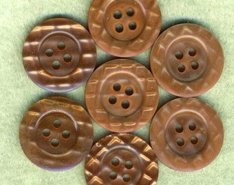 6 Vintage Caramel Tan Plastic Sewing Buttons Quilted 7/8 inch 23mm