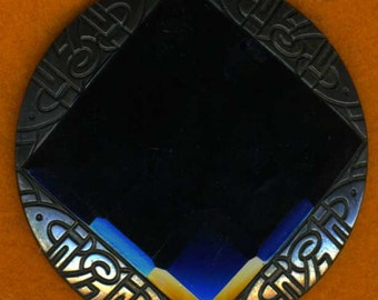 Huge Faceted Art Deco Black Glass Button 2-3/16 inch 56mm Gorgeous Sewing Button