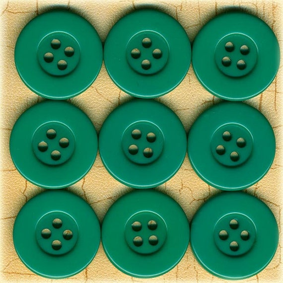 9 Vintage Seafoam Jadeite Green Plastic Sewing Buttons 7/8 inch 22mm