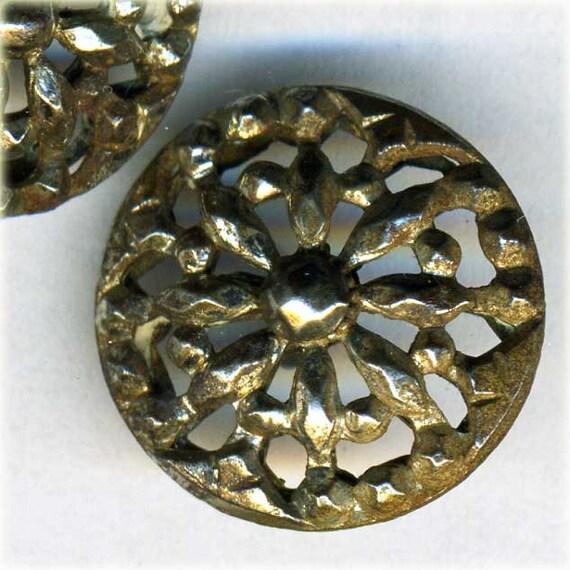 2 Antique Pierced Metal Flower Sewing Buttons Cut Steel 5/8 inch 15mm