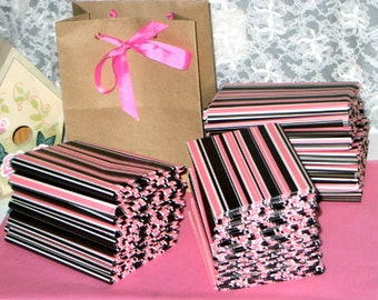 """10ct. Sheets Neapolitan Stripes Tissue Paper for Gift Bags 20x30"""" Pink, Chocolate Brown and White (Free Shipping!)"""