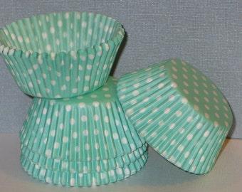 50 Light Mint Aqua Green Polka Dot Cupcake Liners Baking Cups STANDARD SIZE