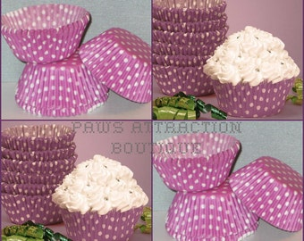 50 Purple & White Polka Dot Cupcake Liners Baking Cups STANDARD SIZE (Free Shipping!)