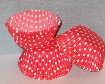 50 Red & White Polka Dot Cupcake Liners Baking Cups STANDARD SIZE (Free Shipping!)