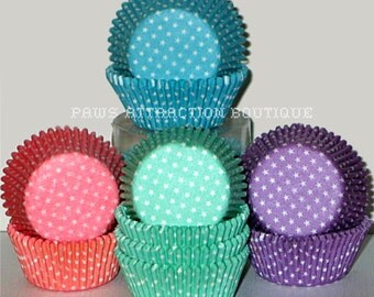 100 Polka STARS Dots Standard Cupcake Liners Baking Cups Purple Pink Blue Teal (Free Shipping!)