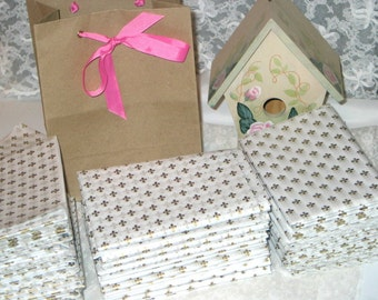 "10ct. Sheets of Fleur De Lis White and Gold Tissue Paper for Gift Bags 20x30"" (Free Shipping!)"