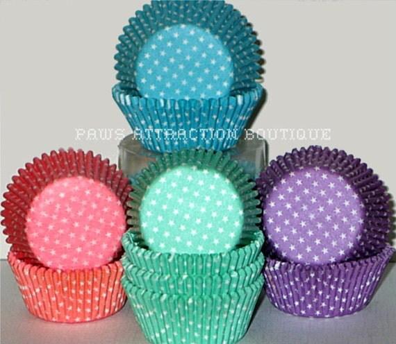 100 Polka STARS Dots Standard Cupcake Liners Baking Cups Purple Pink Blue Teal