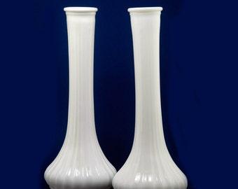 Two Vintage Hoosier Milk Glass Vases