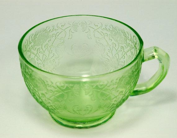 Vintage Florentine Poppy no.1 Teacup Vaseline glass