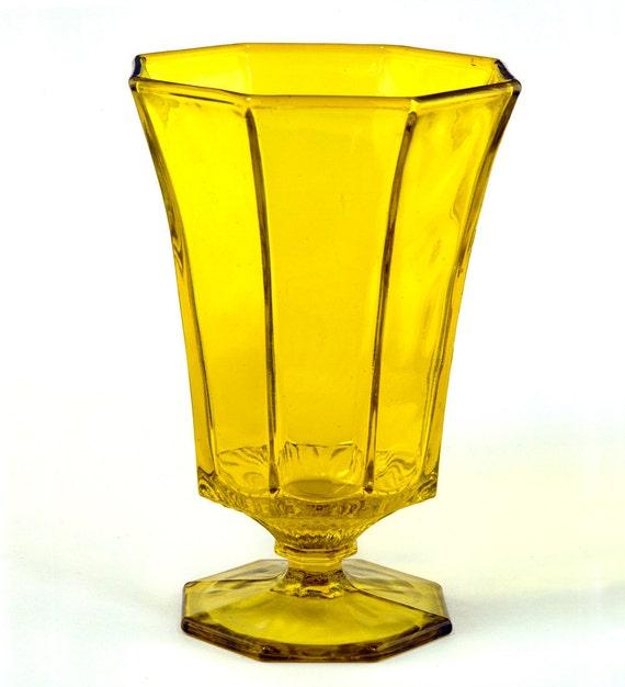 Vintage Independence Crystal Octagonal Yellow Ice Tea Glass