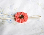 Sweet Baby Velvet Flower Skinny Headband with Rhinestone Center
