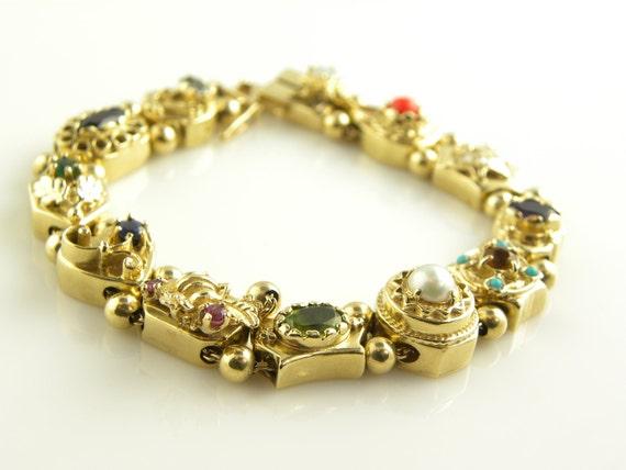 reserved 14kt solid gold slide charm bracelet by treasureplus