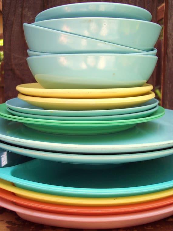 Pastel Rainbow Melamine Dishes