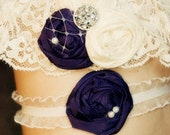 Romantic Ruffles and Lace Dark Purple Wedding garter set / Ivory lace garter with toss garter included /  vintage wedding ANY COLORS