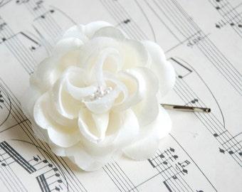 Ivory Wedding Hair Flower / Pearl Hair Piece in Ivory or White / White Wedding Hair Piece