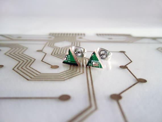Triangle Circuit Board Earrings - Small - Green - Cyborg Series