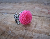 PINK LEMONADE- pink pom pom chrysanthemum cabochon on antique silver filigree band