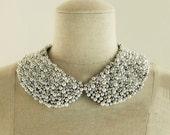 Handmade Fashion Metal Bead and Pearl Peter Pan Collar