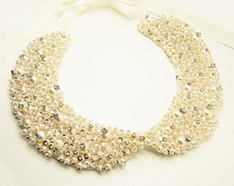 Embellished Ivory Pearl , Sequin, Crystal Bead and  Rhinestone Peter Pan Collar Necklace