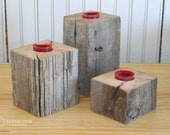 Tea Light Candle Holder Reclaimed Rustic Fence Post  -  Cabin Wood Metal Brown Barn Post Rust Old by LMeyer