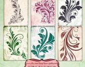 Collage sheet FLOURISH digital atc background sheet, 6 designs, supplies for scrapbooking collage digital download
